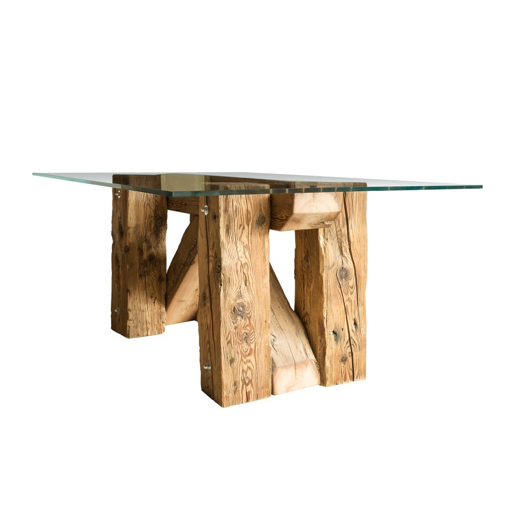 <p>The Taulà table is composed of a large glass top and natural wood. Like all products in the wood series, it is kept in its original composition: solid, alive and fragrant. The word Trae in the Ampezzano dialect means beams. Even in this case, our mission is to recycle and use quality material: fir and […]</p>