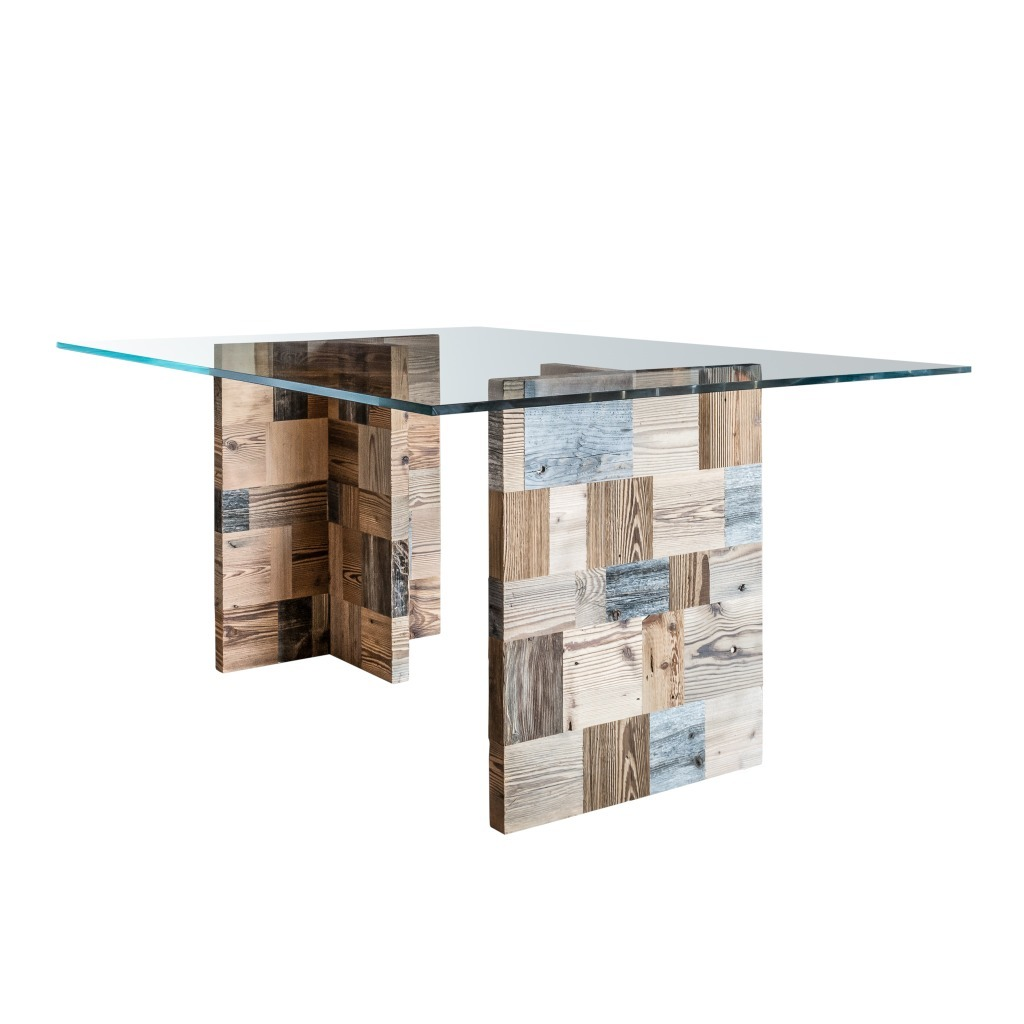 <p>This table is composed of a large glass top resting on two T-shaped fine wood legs, formed by harlequin rectangles. The design is inspired by the massive dolomite Lastoi de Formin, famous for its southern and western slopes, which have impressive sheer cliffs. The word Pestuze in local Ampezzano dialect means small pieces. We chose […]</p>