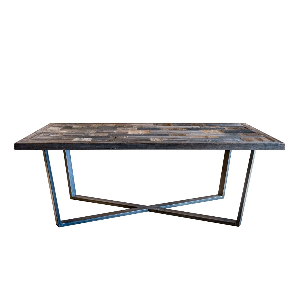 <p>This table with its geometric lines has a shaped top, consisting of fine wood rectangles and iron legs. The design incorporates the lines of the most majestic massif in the Ampezzo area: Tofane. The grey shade is achieved by leaving the wood exposed to the weather as it originally covered the external northern side of […]</p>